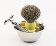 Shaving equipment - Shaving kit ( Shaving bowl, brush and straig Stock Image