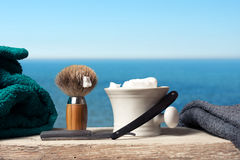 Shaving Equipment on wood in Landscape Royalty Free Stock Image