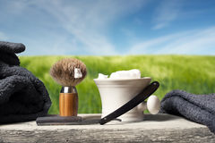 Shaving Equipment on wood in Landscape Stock Photography