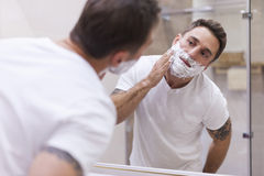 Shaving every morning stock images