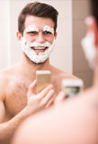 Shaving with fun Stock Photography
