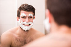Shaving with fun Royalty Free Stock Photos