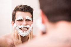 Shaving with fun Royalty Free Stock Photography