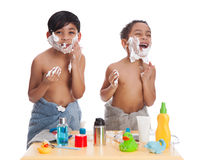 Shaving fun. Royalty Free Stock Photography