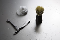 Shaving kit freehand for man. Portrait of a kit for shaving in the traditional way Royalty Free Stock Photography
