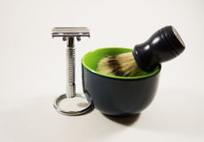 Shaving kit. With razor,brush and bowl Royalty Free Stock Photo