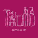 Shaving kit. Of razors, brushes, foams and gels Royalty Free Stock Photography