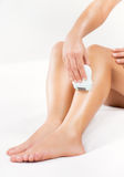 Shaving leg Royalty Free Stock Photos