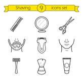 Shaving linear icons set Stock Image