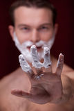 Shaving man Royalty Free Stock Images