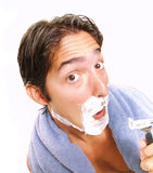 Shaving man. Royalty Free Stock Images