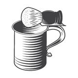 Shaving mug and brush. Isolated on a White Background. Vector Royalty Free Stock Images