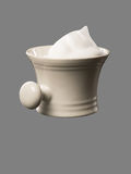 Shaving Mug with shaving Foam isolated on grey Backdrop Royalty Free Stock Photos