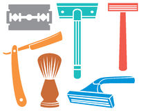 Shaving razor and brush. Icons Stock Images
