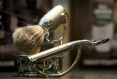 Shaving razor and brush Royalty Free Stock Photo