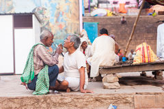 Shaving on the street, Varanasi Royalty Free Stock Photography
