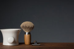 Shaving Tool on Table and black Background Stock Image
