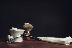 Shaving Tool. S on a wooden Table Stock Photo