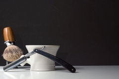 Shaving Tools on black Background Stock Images