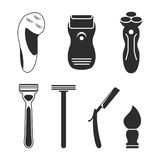 Shaving tools icons. Set of objects for shaving isolated black icons Royalty Free Stock Photos