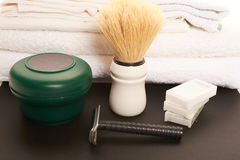 Shaving tools on a table Stock Photo