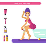 Shaving. Vector flat design illustration of epilation or depilation procedure. Beautiful smiling girl in towels depilating legs with razor. Shaving foam and gel Royalty Free Stock Image