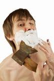 Shaving whit the axe Stock Photo