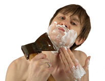 Shaving whith the axe Stock Photos