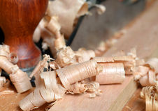 Деревянные shavings Стоковые Фотографии RF