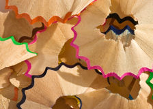 Shavings. A close up of pencil shavings Royalty Free Stock Images