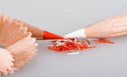 Shavings av blyertspennor Arkivfoton
