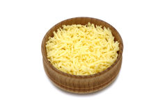 Shavings of cheese in wooden bowl Royalty Free Stock Photography