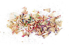 Shavings of colored pencils isolated over white Royalty Free Stock Photography