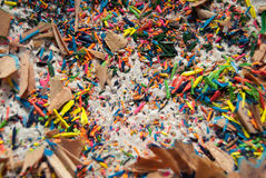 Shavings of colored pencils closeup Stock Images