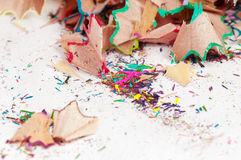 Shavings of colored pencils Royalty Free Stock Photos