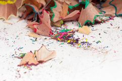 Shavings of colored pencils Royalty Free Stock Photography