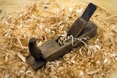 Shavings and jack plane Royalty Free Stock Image