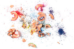 Shavings from multicolored pencils Royalty Free Stock Images
