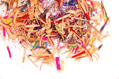 Shavings from a pencil. Rubbish from wooden colorful pencils royalty free stock photography