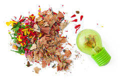 Shavings and sharpener Stock Photos