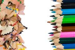 Shavingsna av blyertspennacloseupen Fotografering för Bildbyråer