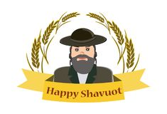 Shavuot Banner - Shavuot festive banner with the image of a Jew, on an isolated background. Vector vector illustration