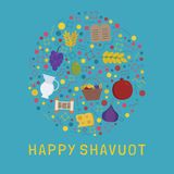 Shavuot holiday flat design icons set in round shape with text i. N english `Happy Shavuot Stock Image