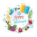Happy Shavuot Jewish Holiday symbols Stock Photo