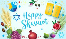 Happy Shavuot Jewish Holiday symbols Stock Photos