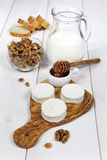 Shavuot: milk, soft cheese and honey Stock Photos