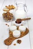 Shavuot: milk, soft cheese and honey Stock Photos