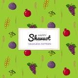 Shavuot ?ydowski wakacyjny bezszwowy deseniowy t?o z siedem tradycyjnymi gatunkami royalty ilustracja