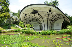 The Shaw Foundation Symphony Stage in Singapore Botanic Gardens. SINGAPORE - OCT 31, 2016: The Shaw Foundation Symphony Stage surrounded by a moat filled with royalty free stock photography