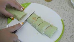 Shawarma με τα ψημένα στη σχάρα κόκκινα ψάρια με το γρήγορο φαγητό σαλάτας απόθεμα βίντεο